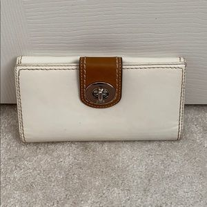 White and Brown Coach Wallet
